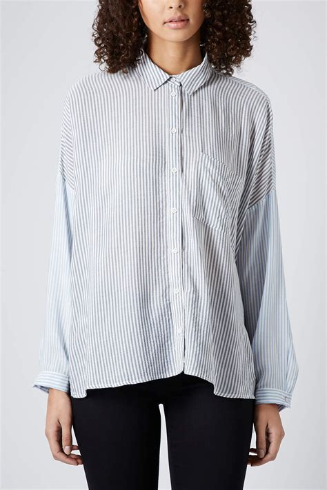 Stripe Oversized Shirt topshop oversized casual stripe shirt in blue lyst