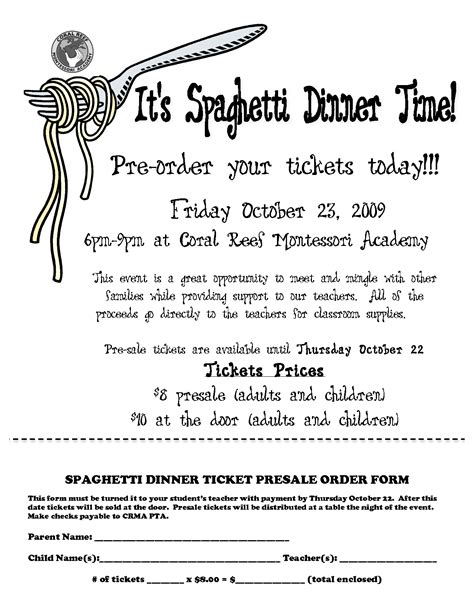 spaghetti dinner ticket template spaghetti dinner ticket