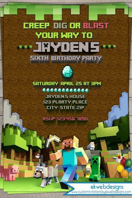 ideas for minecraft birthday invitations templates invitations