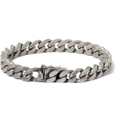 Saint Laurent Burnished Sterling Silver Chain Bracelet in Silver for Men   Lyst
