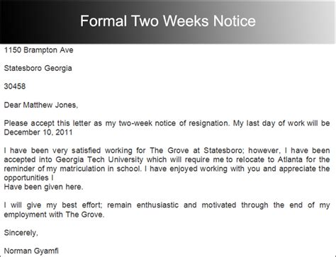 Letter Of Resignation Two Weeks Notice Pdf Formal Two Weeks Notice Sle Pdf