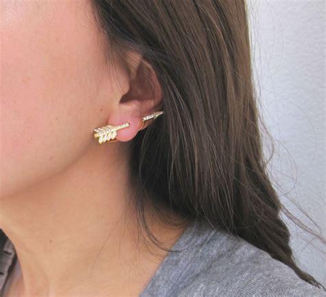 Ear Jackets 24k gold plated arrow ear jacket rhinestone earrings