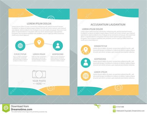 Vector Flyer Template Design With Front Page And Back Page Business Brochure Or Cover Stock Pages Flyer Templates