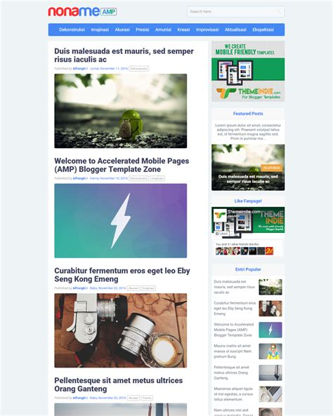 mobile friendly templates for blogger nonameamp accelerated mobile pages blogger template
