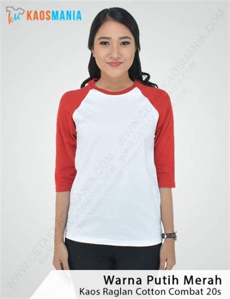 Kaos Jalan Jalan Warna Putih kaos raglan lengan 3 4 bahan cotton combat 20s