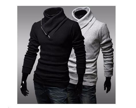 Turtle Neck Two Zipper mens sweater sleeve pullover solid turtleneck