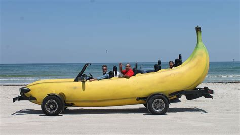 boat made into car banana car inventor turns pick up truck into driveable