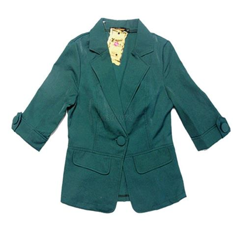 korean women short sleeve blazer korean ol women slim fitted one button short blazer coat