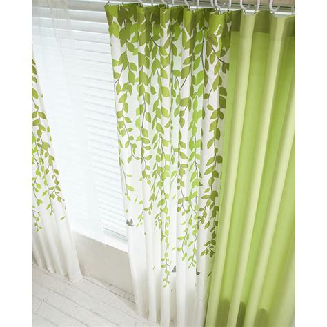 Curtains Green And White Lime Green And White Leaf Print Poly Cotton Blend Country Living Room Curtains