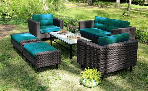 ae outdoor 6 piece all weather wicker wright deep seating