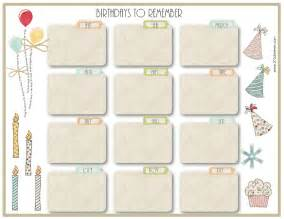 birthday calendar template printable free birthday calendar