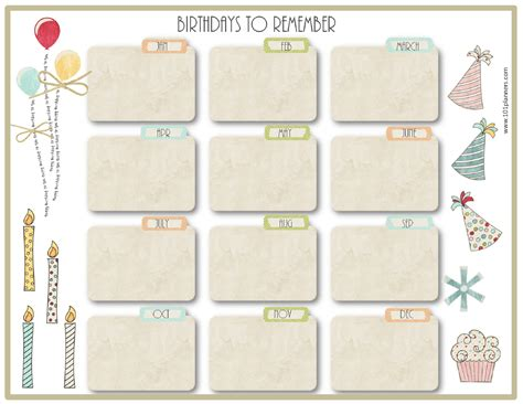 birthday calendar template search results for free family birthday calendar template