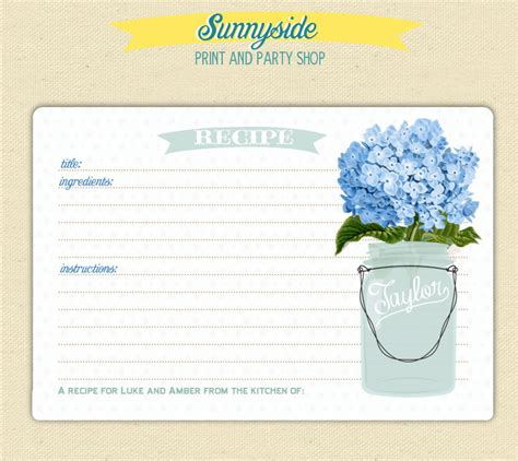 free printable recipe cards gifts jar recipe card with mason jar you choose flower printable