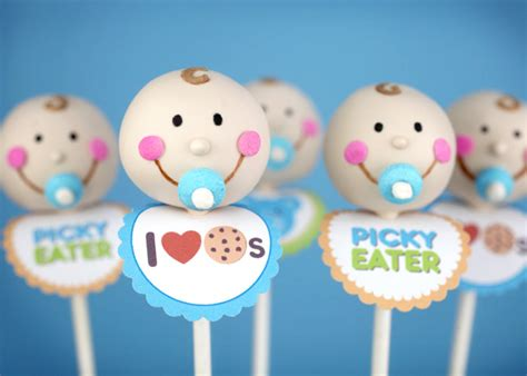 Boy Baby Shower Cake Pops by Baby Faces Bakerella