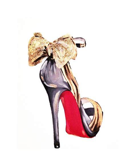 print of gold glitter bow high heel fashion illustration