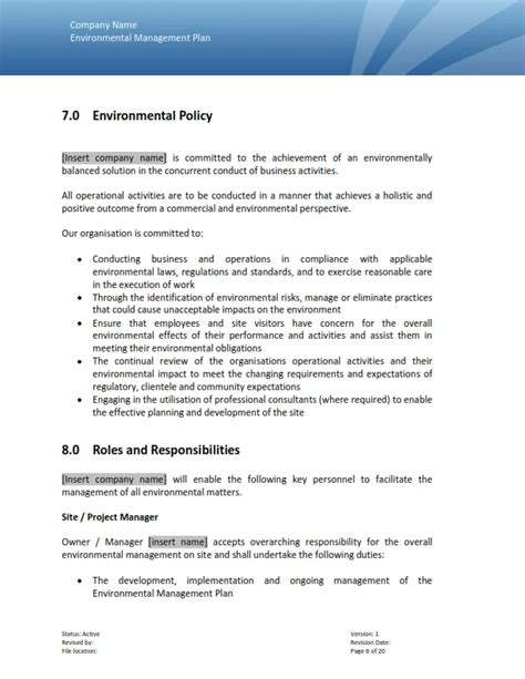 environmental management plan template plan template