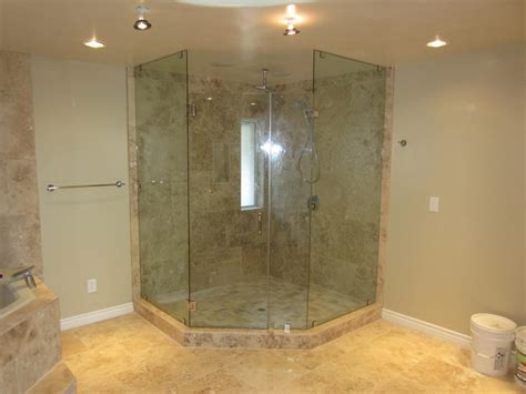Neo Angle Frameless Shower Doors Neo Angle Enclosure Mission Patriot Glass And Mirror San Diego Ca