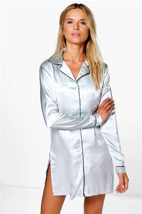 Shirt Maisy De boohoo womens maisy satin button through shirt