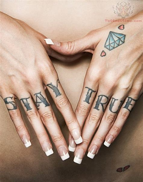 diamond tattoo on hand stay true on