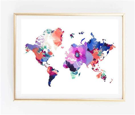 Floral Prints For Travel by Map Floral World Map Painting Map Print