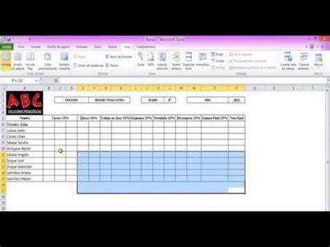 elaboracion de un registro automatico en excel parte 2 registro de calificaciones en la planilla auxiliar excel