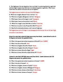 hr diagram worksheet answers hertzsprung diagram worksheet by lam