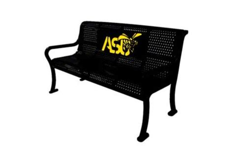 logo bench 4 custom two color perforated roll formed logo bench