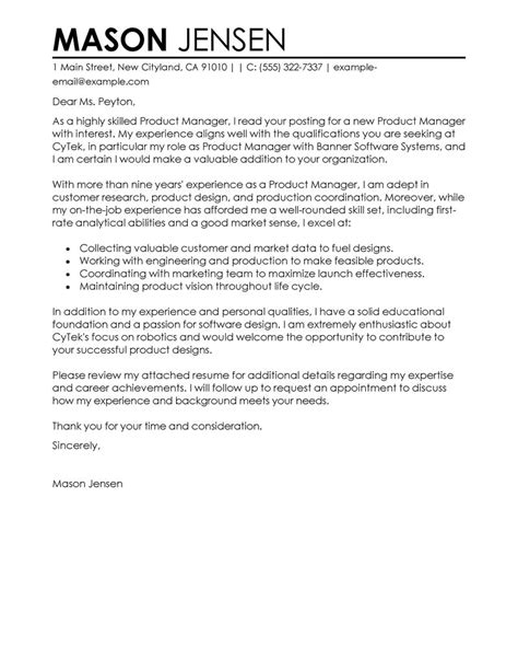 cover letter product manager product manager cover letter exles marketing cover