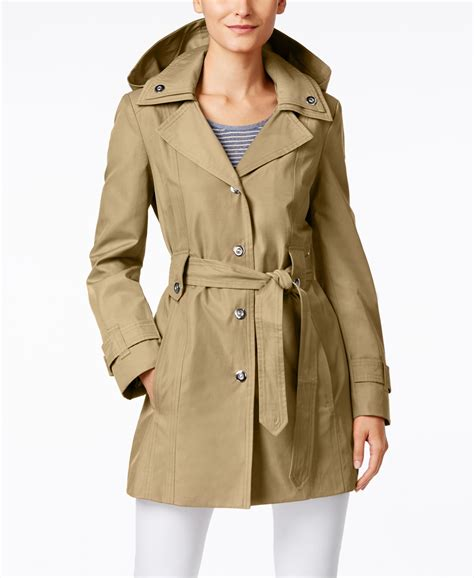 Hooded Snap Button Coat fog snap button hooded trench coat in green lyst