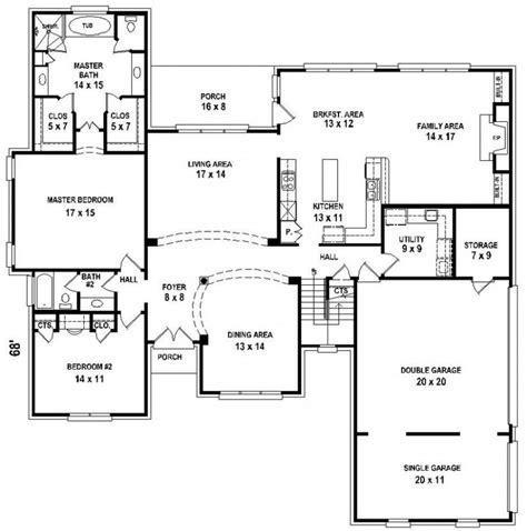 5 Bedroom 3 Bathroom House Plans by 654206 5 Bedroom 4 Bath House Plan House Plans Floor