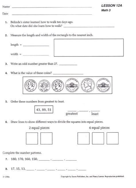 Saxon Math Worksheets by 3rd Grade Saxon Math Package Curriculum Bookshark