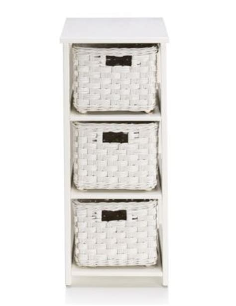 White Rattan 3 Tier Storage Unit M S White Rattan Bathroom Storage