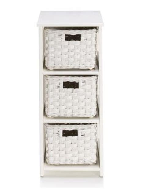 White Rattan Bathroom Storage Units