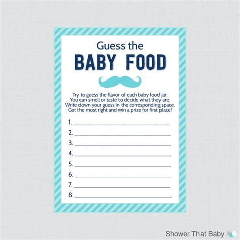 baby food guessing template mustache baby shower guess the baby food baby by