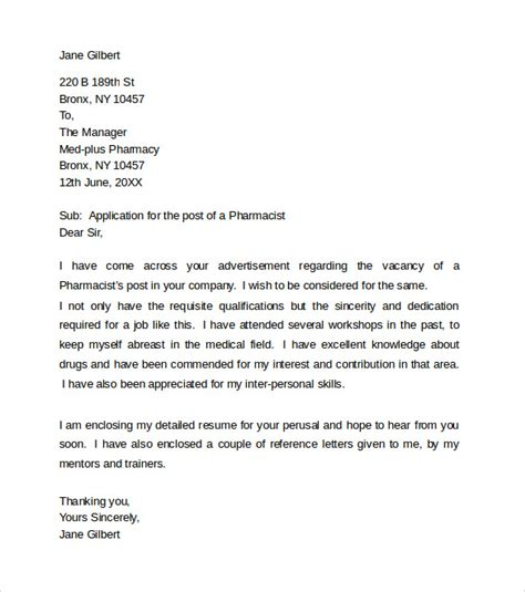pharmacist application letter 28 images pharmacist cover letter hashdoc hospital pharmacist