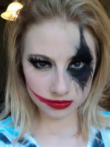 Modern harley quinn makeup i would do another smudged diamond on the