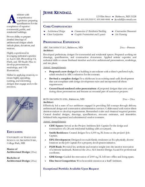 Architecture Resume Exle by Writing Cv Architecture