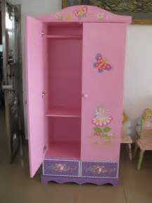princess wooden children wardrobe for storage view