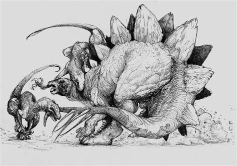 stegosaurus and raptors by zombiraptor on deviantart