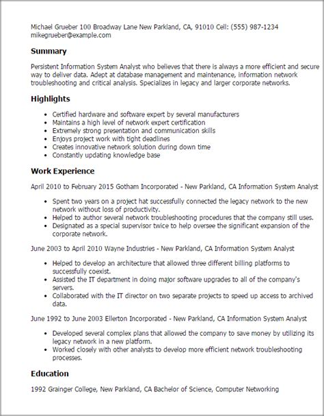 Network Systems Analyst Cover Letter by Professional Information Systems Analyst Templates To Showcase Your Talent Myperfectresume