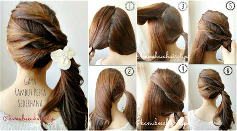 tutorial styling rambut simple kanubeea hair clip gaya rambut pesta sederhana