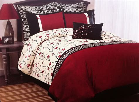 japanese comforters oriental asian cherry blossom sakura red black 7pc queen