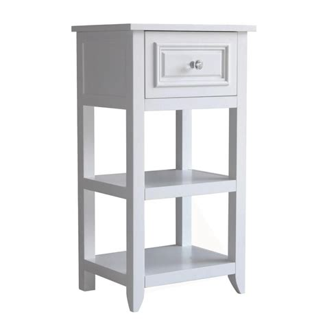 dawson white bathroom floor cabinet with one drawer and
