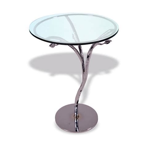 silver accent tables modern silver leaf accent table with 18in glass top
