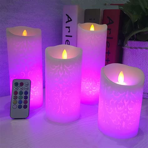 dancing flame led candles  rgb remote controlwax