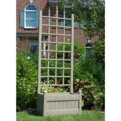 dura trel 5 foot mocha rectangle vinyl camelot planter box with trellis at hayneedle