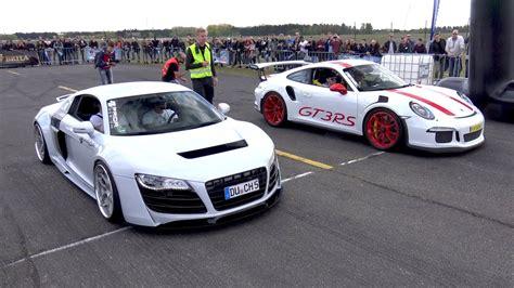 Audi R8 Vs Porsche Gt3 by Porsche 991 Gt3 Rs Vs Audi R8 Vs Sl63 Amg Vs R8 V10 Spyder
