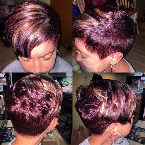 burgandypurple 2015 hair burgundy pixie cut with blonde highlights done by me