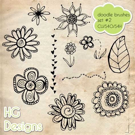 doodle flower photoshop brushes doodle brushes for photoshop 500 designs