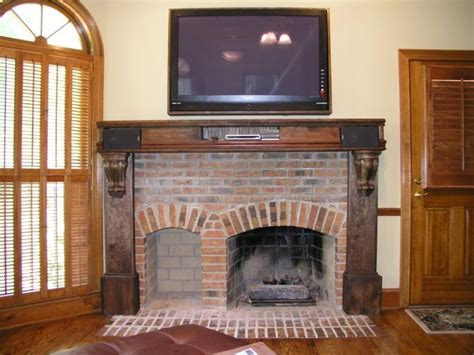 brick rustic mantel decor for classic fireplace with frame rustic brick fireplaces photos